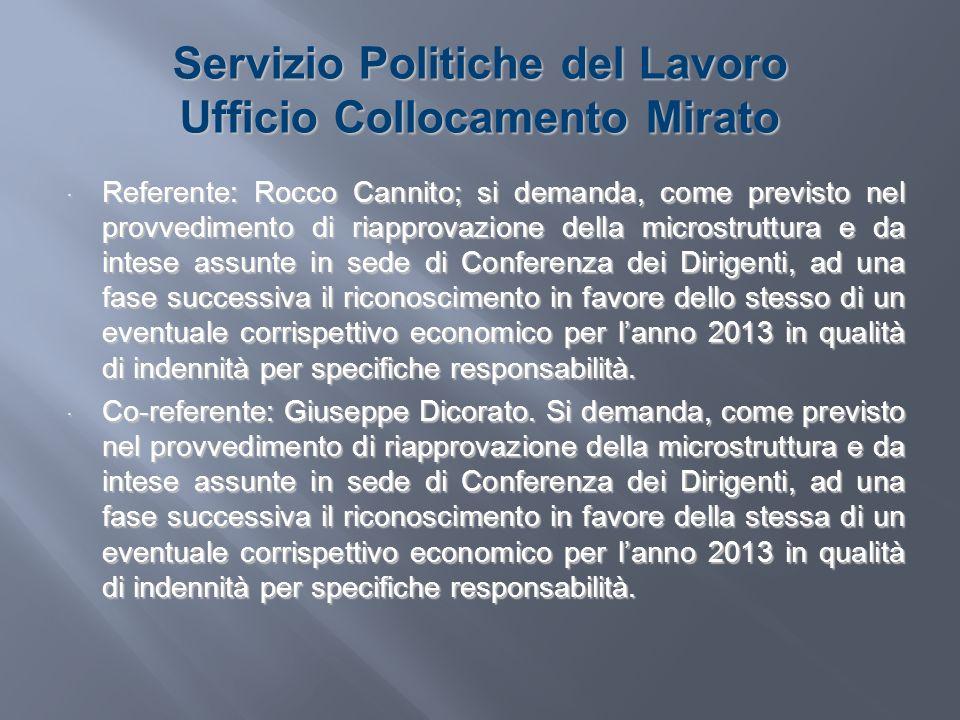 Servizio Politiche del Lavoro Ufficio Collocamento Mirato Referente: Rocco Cannito; si demanda, come previsto nel provvedimento di riapprovazione dell