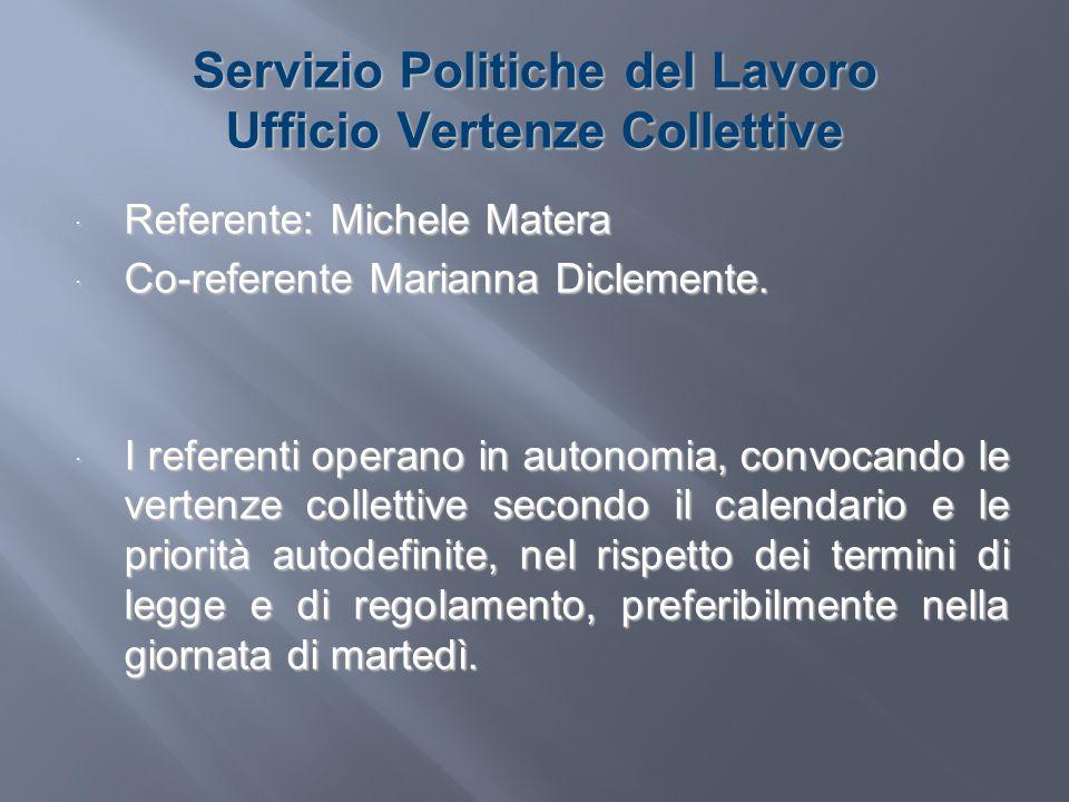Servizio Politiche del Lavoro Ufficio Vertenze Collettive Referente: Michele Matera Referente: Michele Matera Co-referente Marianna Diclemente. Co-ref