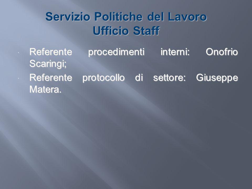 Servizio Politiche del Lavoro Ufficio Staff Referente procedimenti interni: Onofrio Scaringi; Referente procedimenti interni: Onofrio Scaringi; Refere