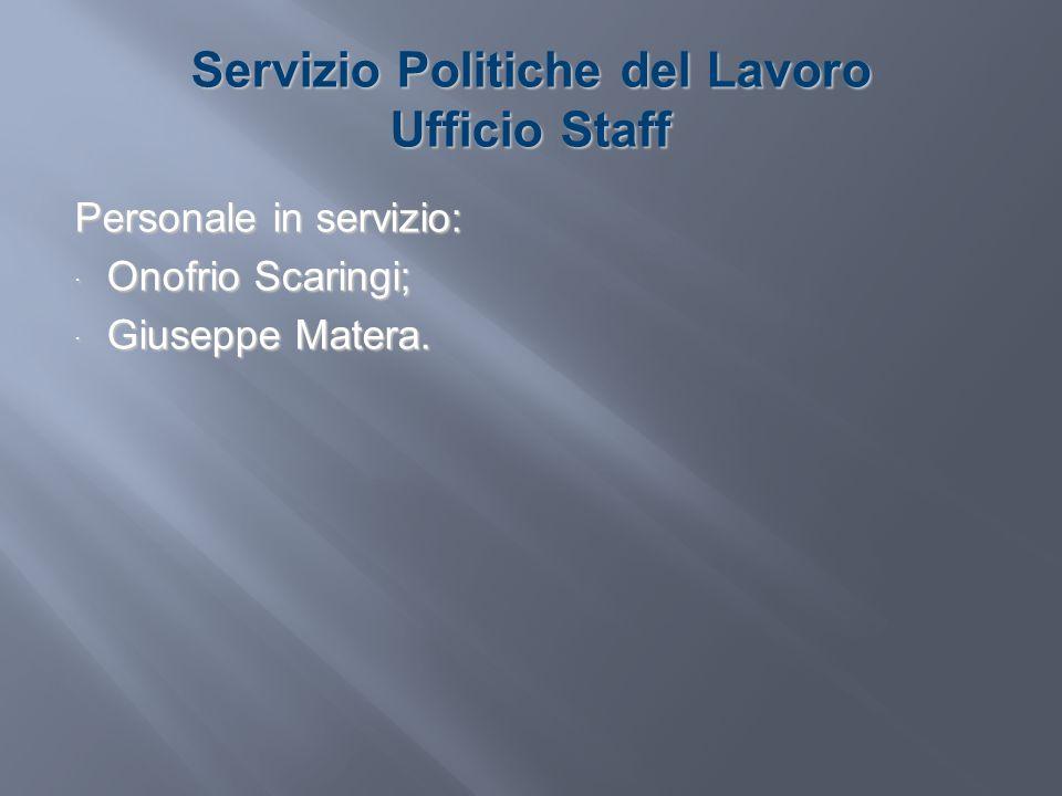 Servizio Politiche del Lavoro Ufficio Staff Personale in servizio: Onofrio Scaringi; Onofrio Scaringi; Giuseppe Matera. Giuseppe Matera.