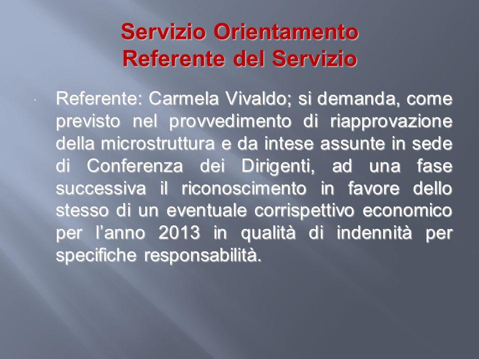 Servizio Orientamento Referente del Servizio Referente: Carmela Vivaldo; si demanda, come previsto nel provvedimento di riapprovazione della microstru