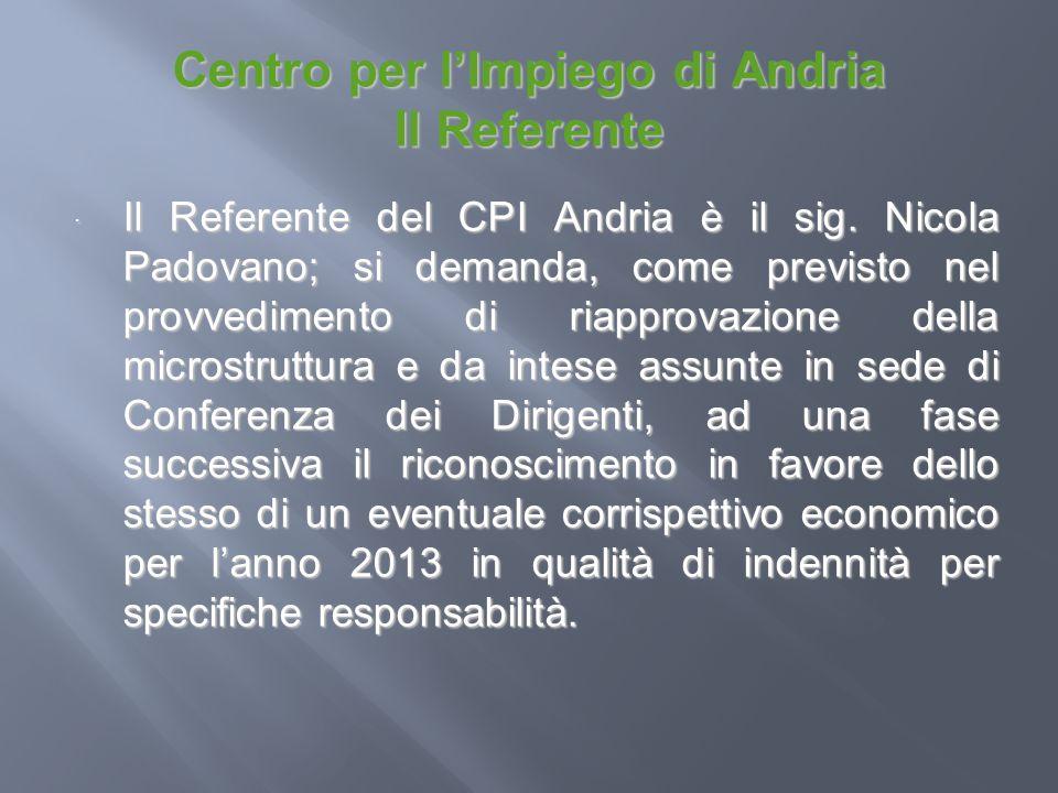 Centro per lImpiego di Andria Il Referente Il Referente del CPI Andria è il sig. Nicola Padovano; si demanda, come previsto nel provvedimento di riapp
