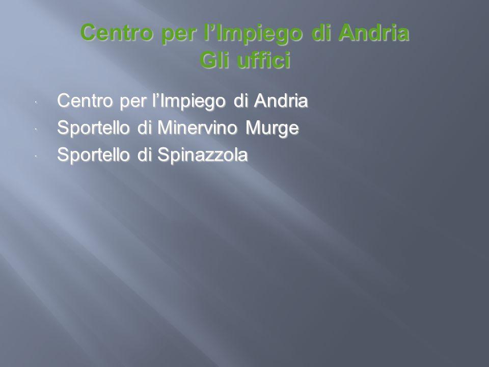 Centro per lImpiego di Andria Gli uffici Centro per lImpiego di Andria Centro per lImpiego di Andria Sportello di Minervino Murge Sportello di Minervi