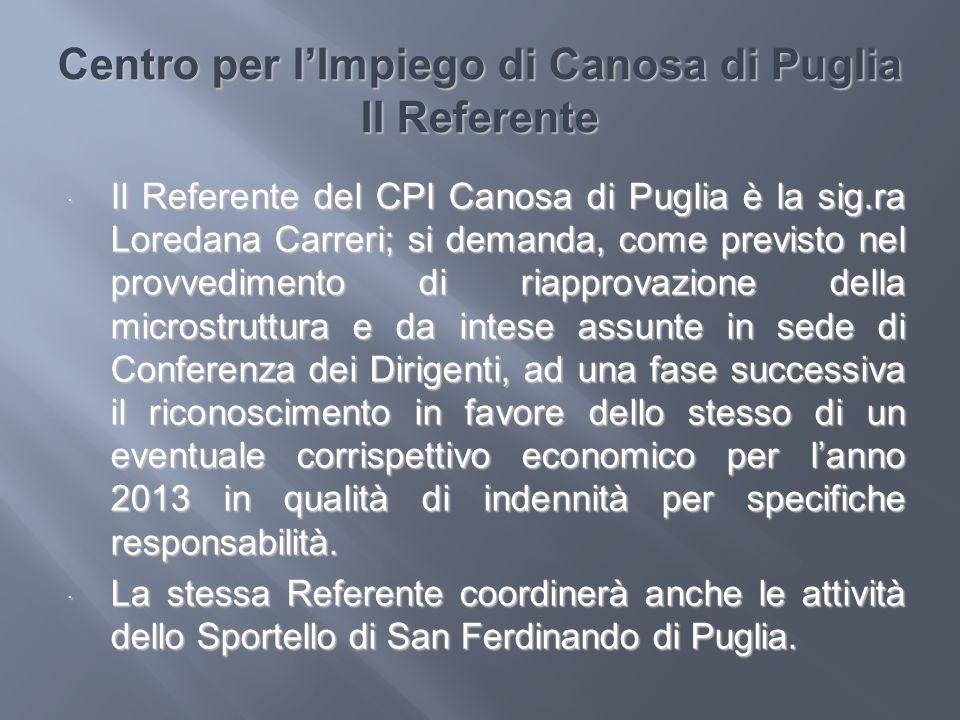 Centro per lImpiego di Canosa di Puglia Il Referente Il Referente del CPI Canosa di Puglia è la sig.ra Loredana Carreri; si demanda, come previsto nel