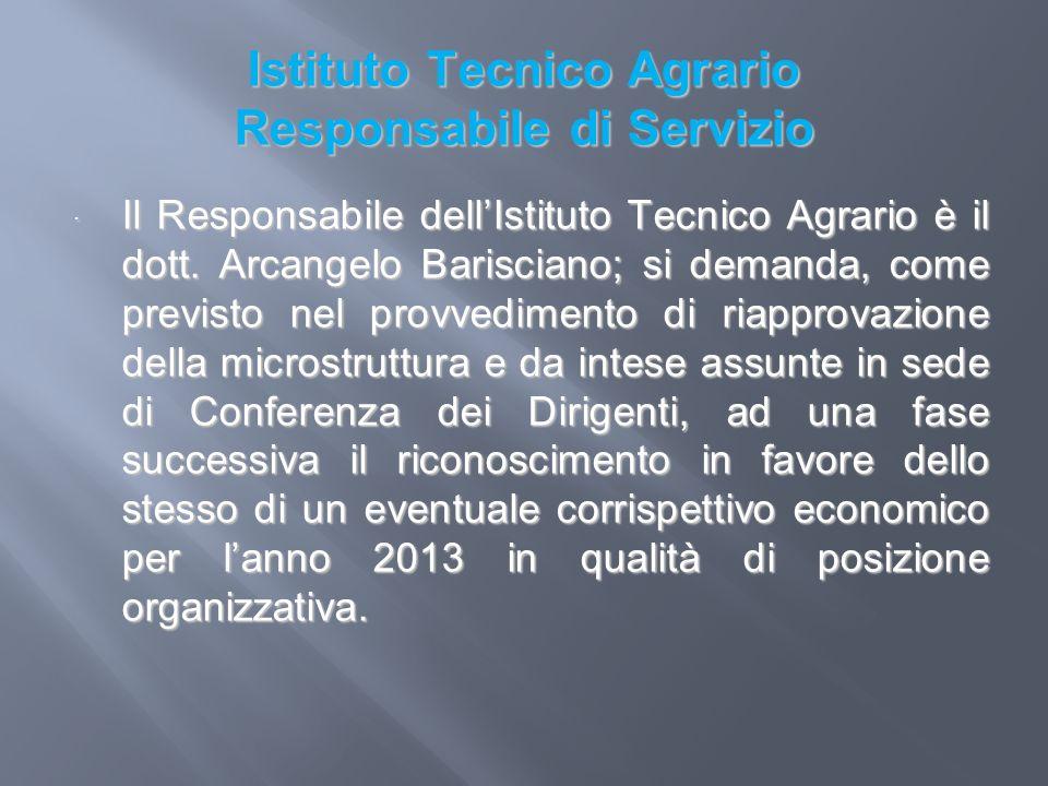 Istituto Tecnico Agrario Responsabile di Servizio Il Responsabile dellIstituto Tecnico Agrario è il dott. Arcangelo Barisciano; si demanda, come previ