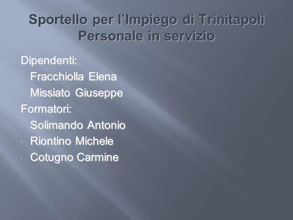 Sportello per lImpiego di Trinitapoli Personale in servizio Dipendenti: Fracchiolla Elena Fracchiolla Elena Missiato Giuseppe Missiato GiuseppeFormato