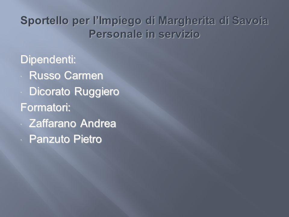 Sportello per lImpiego di Margherita di Savoia Personale in servizio Dipendenti: Russo Carmen Russo Carmen Dicorato Ruggiero Dicorato RuggieroFormator