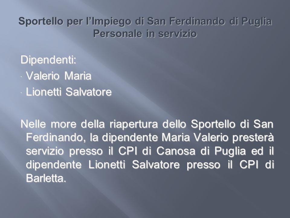 Sportello per lImpiego di San Ferdinando di Puglia Personale in servizio Dipendenti: Valerio Maria Valerio Maria Lionetti Salvatore Lionetti Salvatore
