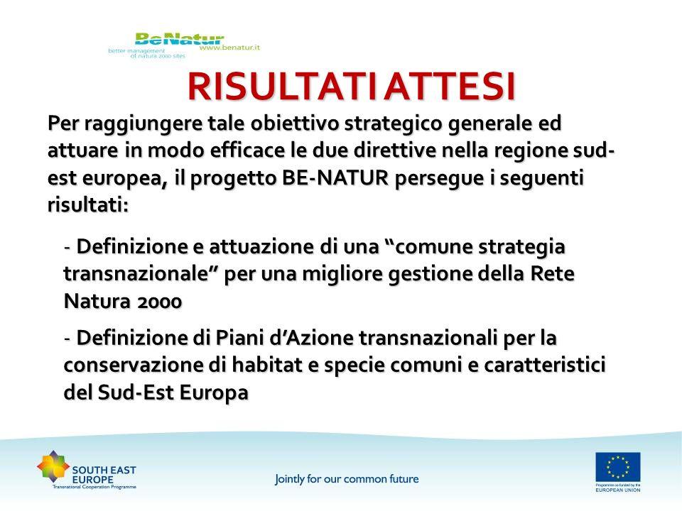 RISULTATI ATTESI Per raggiungere tale obiettivo strategico generale ed attuare in modo efficace le due direttive nella regione sud- est europea, il pr