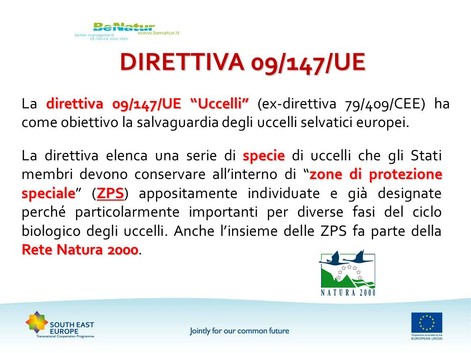 direttiva 09/147/UE Uccelli La direttiva 09/147/UE Uccelli (ex-direttiva 79/409/CEE) ha come obiettivo la salvaguardia degli uccelli selvatici europei