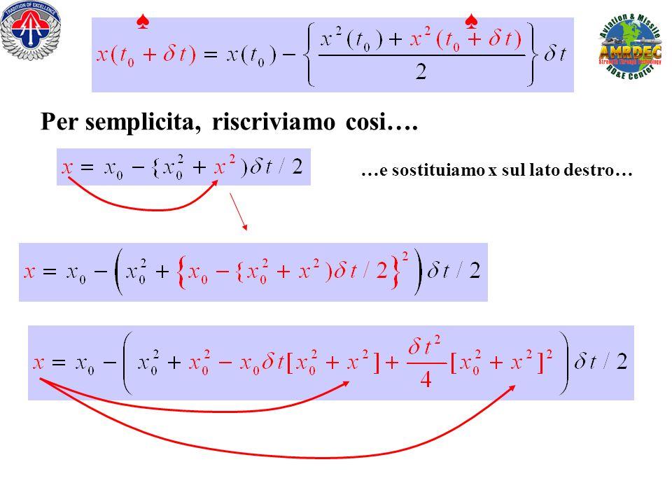 Per semplicita, riscriviamo cosi…. …e sostituiamo x sul lato destro…