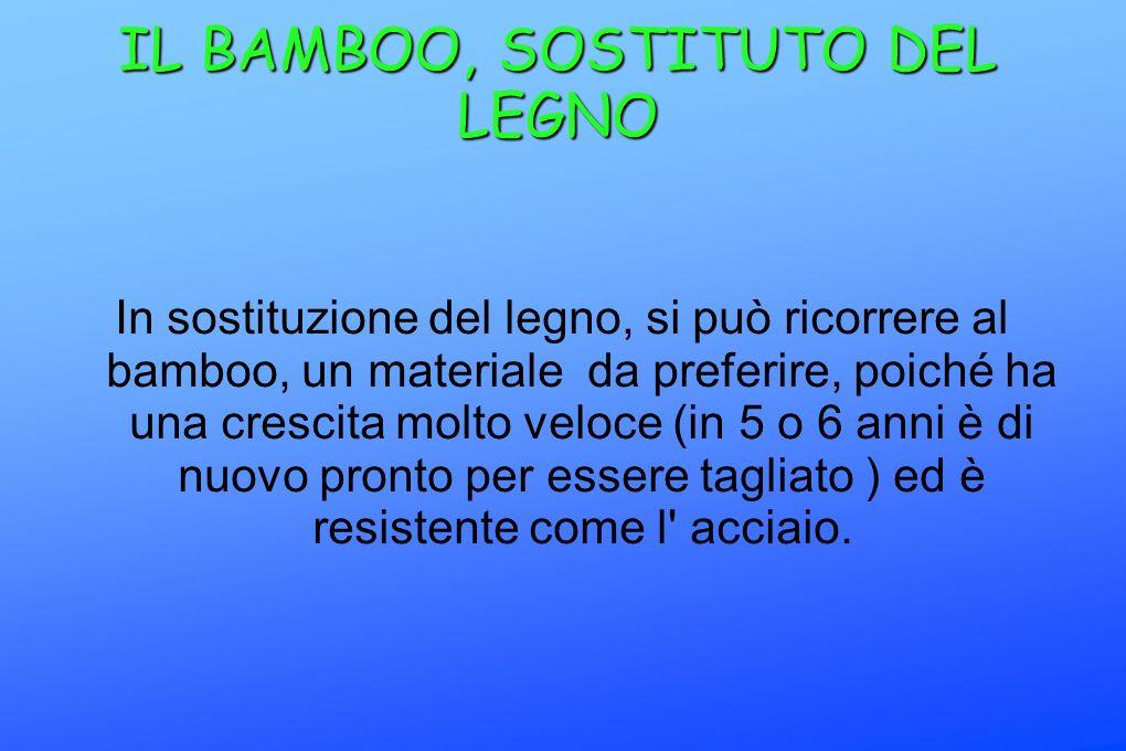 IL BAMBOO, SOSTITUTO DEL LEGNO In sostituzione del legno, si può ricorrere al bamboo, un materiale da preferire, poiché ha una crescita molto veloce (