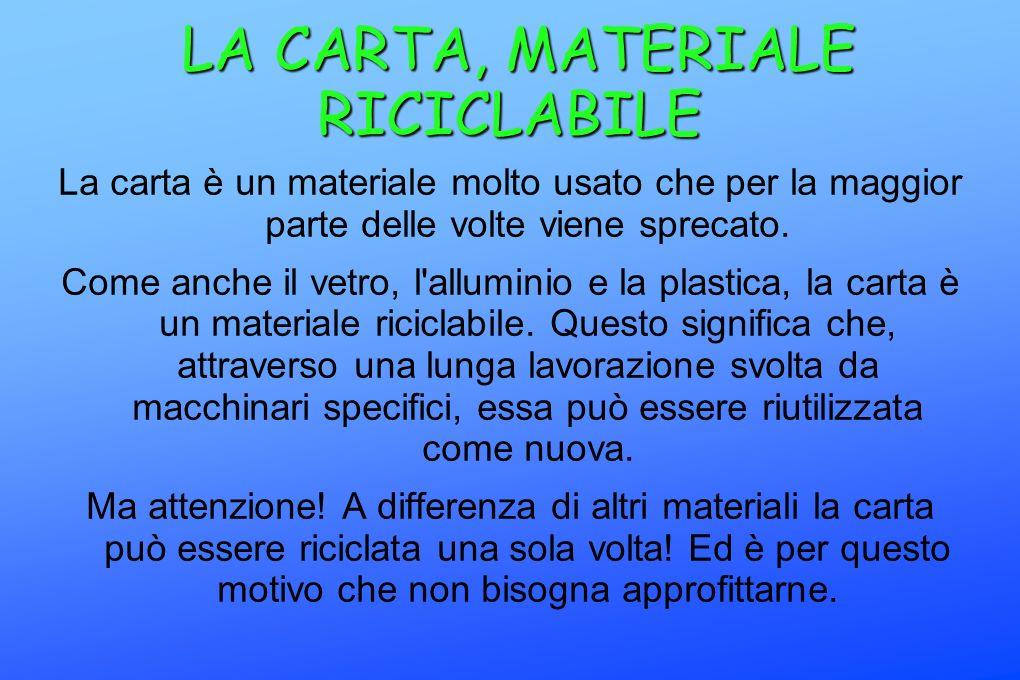 LA CARTA, MATERIALE RICICLABILE LA CARTA, MATERIALE RICICLABILE La carta è un materiale molto usato che per la maggior parte delle volte viene sprecat
