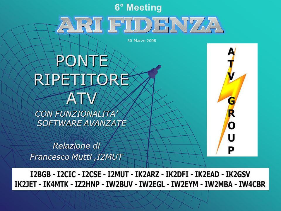 PONTE RIPETITORE ATV PONTE RIPETITORE ATV CON FUNZIONALITA SOFTWARE AVANZATE Relazione di Francesco Mutti,I2MUT 6° Meeting 30 Marzo 2008