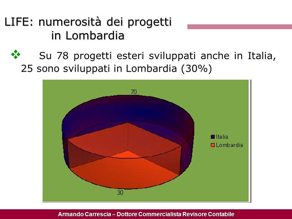 Armando Carrescia – Dottore Commercialista Revisore Contabile Su 78 progetti esteri sviluppati anche in Italia, 25 sono sviluppati in Lombardia (30%)