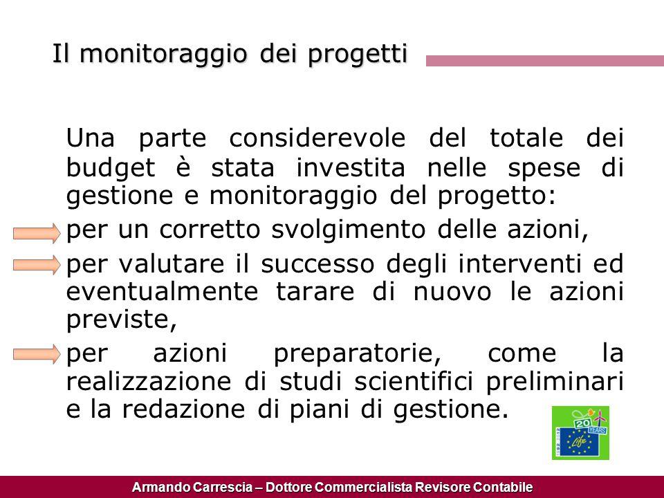 Armando Carrescia – Dottore Commercialista Revisore Contabile Il monitoraggio dei progetti Una parte considerevole del totale dei budget è stata inves