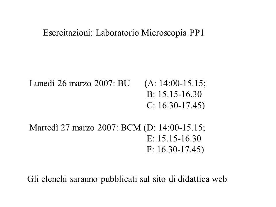 Esercitazioni: Laboratorio Microscopia PP1 Lunedì 26 marzo 2007: BU (A: 14:00-15.15; B: 15.15-16.30 C: 16.30-17.45) Martedì 27 marzo 2007: BCM (D: 14: