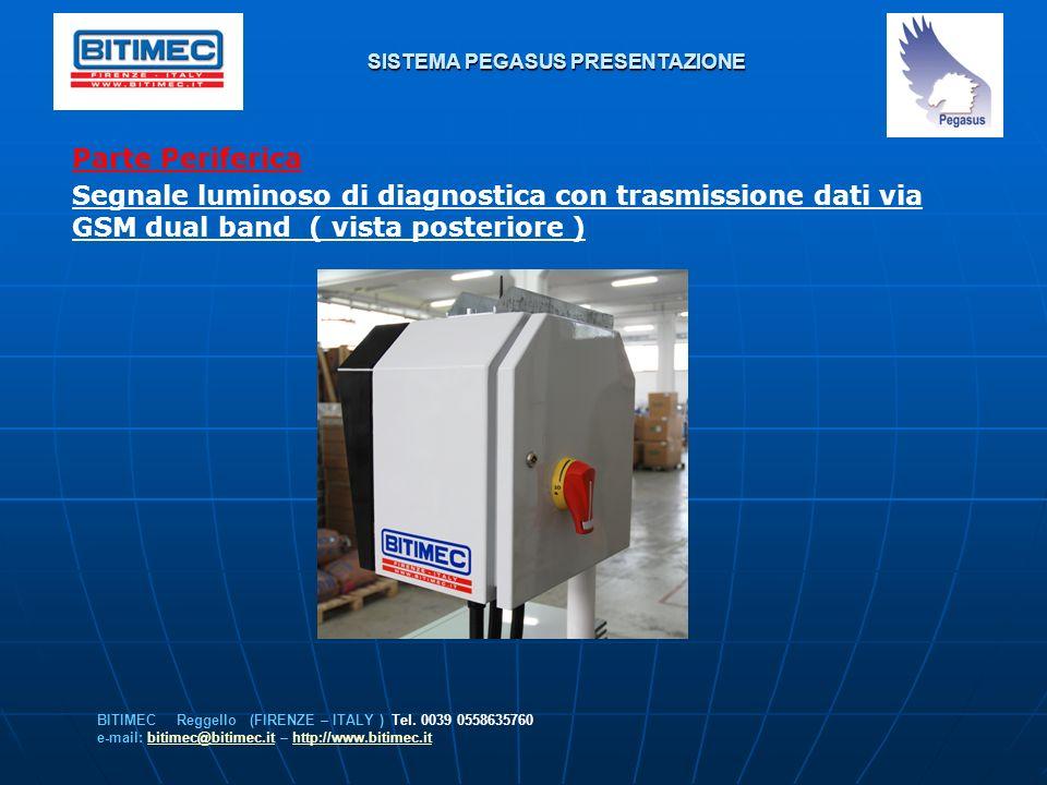 SISTEMA PEGASUS PRESENTAZIONE Parte Periferica Segnale luminoso di diagnostica con trasmissione dati via GSM dual band ( vista posteriore ) BITIMEC Re