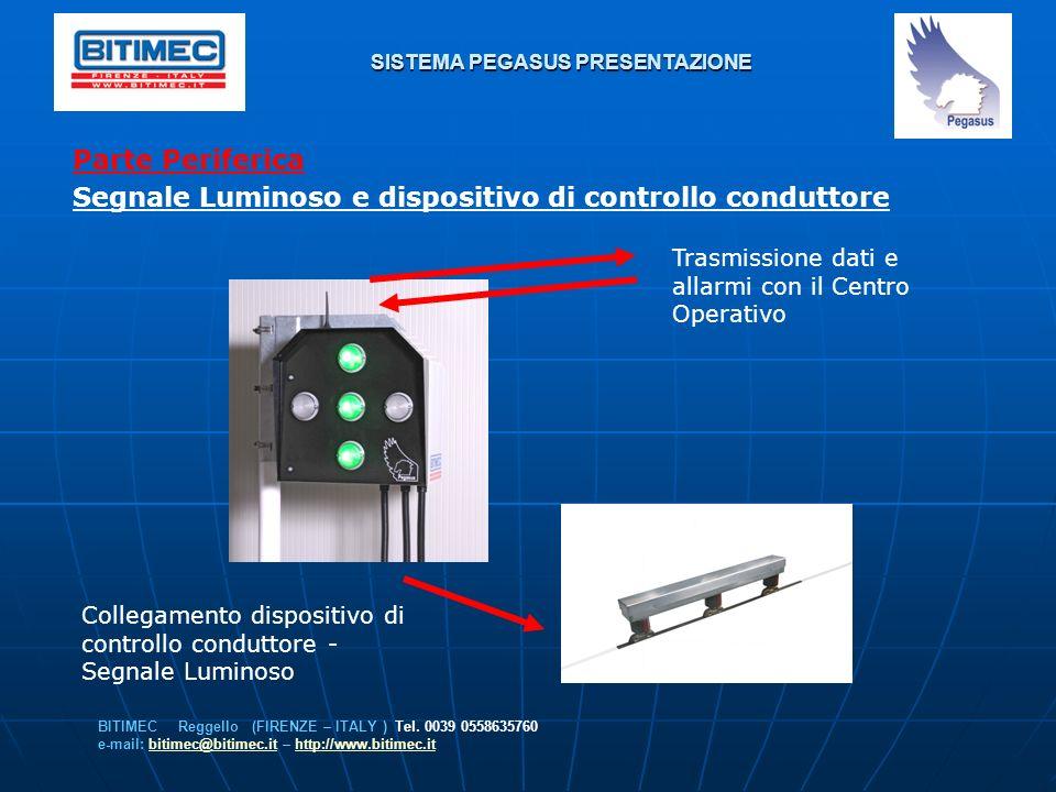 SISTEMA PEGASUS PRESENTAZIONE Parte Periferica Segnale Luminoso e dispositivo di controllo conduttore BITIMEC Reggello (FIRENZE – ITALY ) Tel. 0039 05