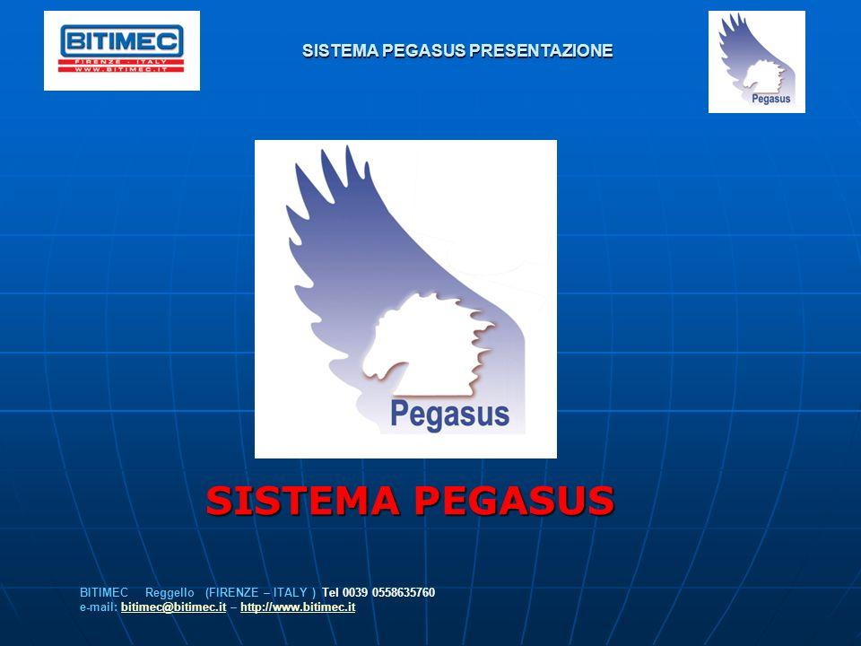 SISTEMA PEGASUS PRESENTAZIONE BITIMEC Reggello (FIRENZE – ITALY ) Tel 0039 0558635760 e-mail: bitimec@bitimec.it – http://www.bitimec.itbitimec@bitime