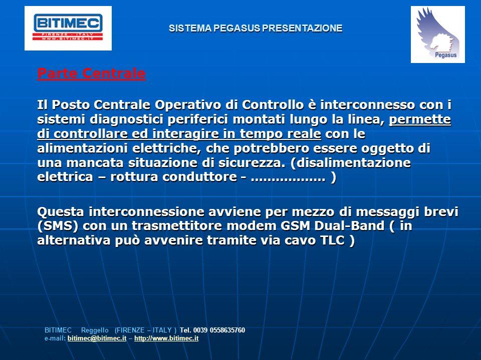 SISTEMA PEGASUS PRESENTAZIONE Parte Centrale Il Posto Centrale Operativo di Controllo è interconnesso con i sistemi diagnostici periferici montati lun