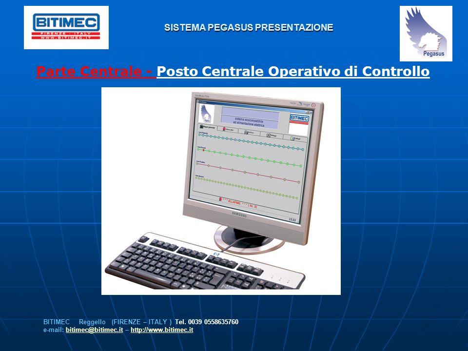 SISTEMA PEGASUS PRESENTAZIONE Parte Centrale - Posto Centrale Operativo di Controllo BITIMEC Reggello (FIRENZE – ITALY ) Tel. 0039 0558635760 e-mail: