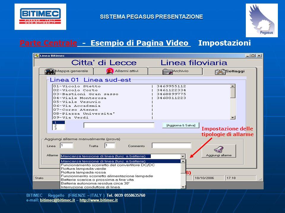 SISTEMA PEGASUS PRESENTAZIONE Parte Centrale - Esempio di Pagina Video Impostazioni BITIMEC Reggello (FIRENZE – ITALY ) Tel. 0039 0558635760 e-mail: b