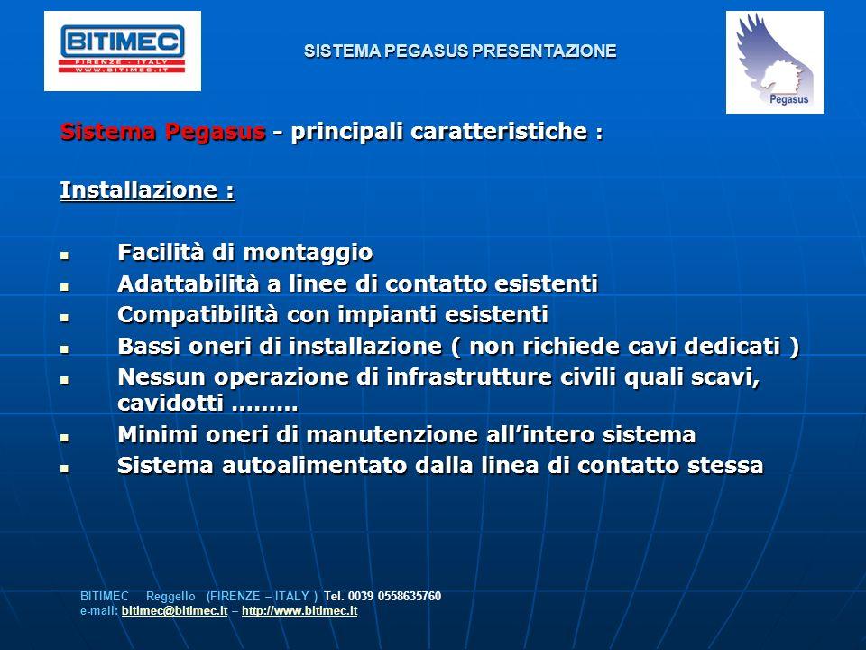 SISTEMA PEGASUS PRESENTAZIONE Sistema Pegasus - principali caratteristiche : Installazione : Facilità di montaggio Facilità di montaggio Adattabilità