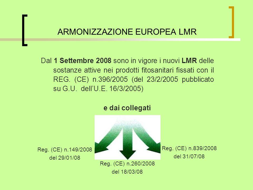 Dal 1 Settembre 2008 sono in vigore i nuovi LMR delle sostanze attive nei prodotti fitosanitari fissati con il REG. (CE) n.396/2005 (del 23/2/2005 pub