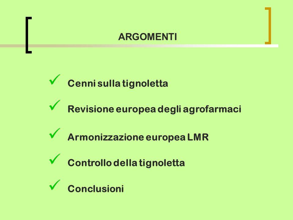 Cenni sulla tignoletta Revisione europea degli agrofarmaci Armonizzazione europea LMR Controllo della tignoletta Conclusioni ARGOMENTI
