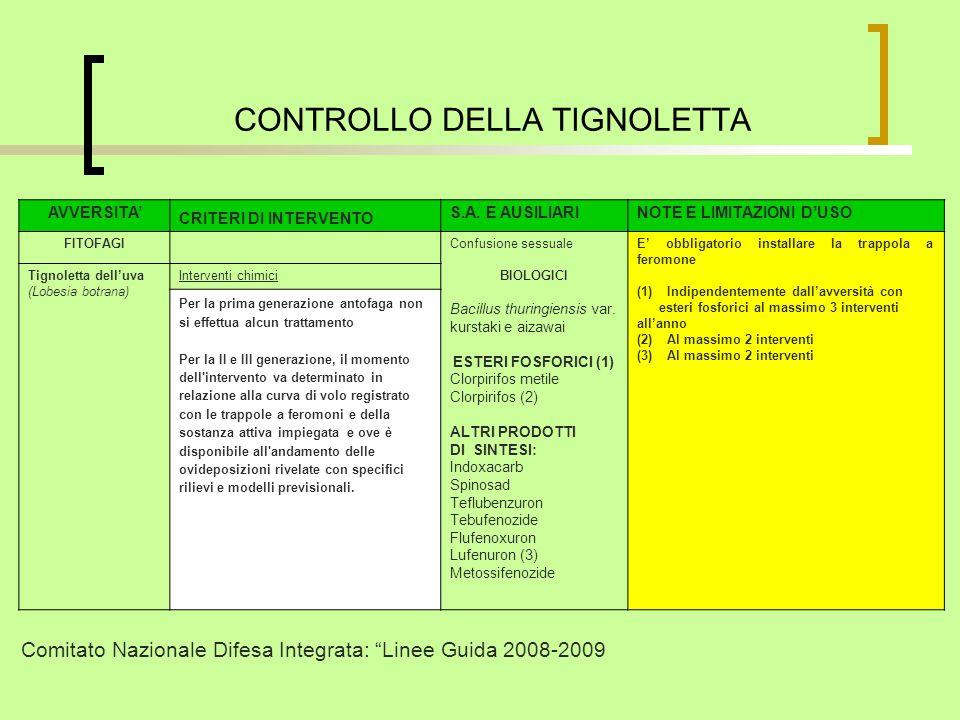 CONTROLLO DELLA TIGNOLETTA AVVERSITA CRITERI DI INTERVENTO S.A.