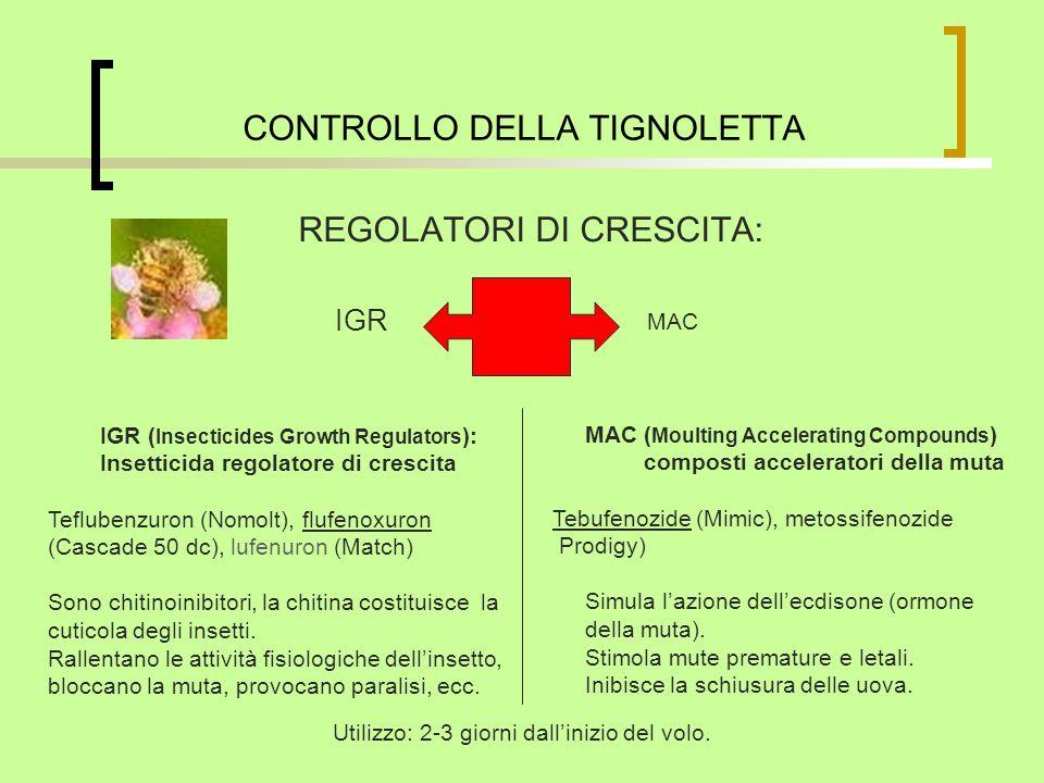 CONTROLLO DELLA TIGNOLETTA REGOLATORI DI CRESCITA: IGR MAC IGR ( Insecticides Growth Regulators ): Insetticida regolatore di crescita Teflubenzuron (N