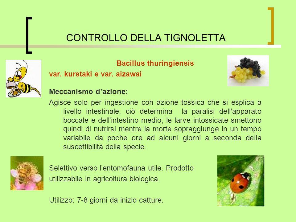 Bacillus thuringiensis var. kurstaki e var. aizawai Meccanismo dazione: Agisce solo per ingestione con azione tossica che si esplica a livello intesti