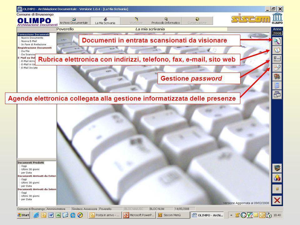 Documenti in entrata scansionati da visionare Rubrica elettronica con indirizzi, telefono, fax, e-mail, sito web Gestione password Agenda elettronica collegata alla gestione informatizzata delle presenze