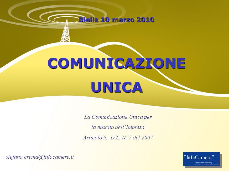 Biella 10 marzo 2010 COMUNICAZIONEUNICA La Comunicazione Unica per la nascita dellImpresa Articolo 9, D.L.