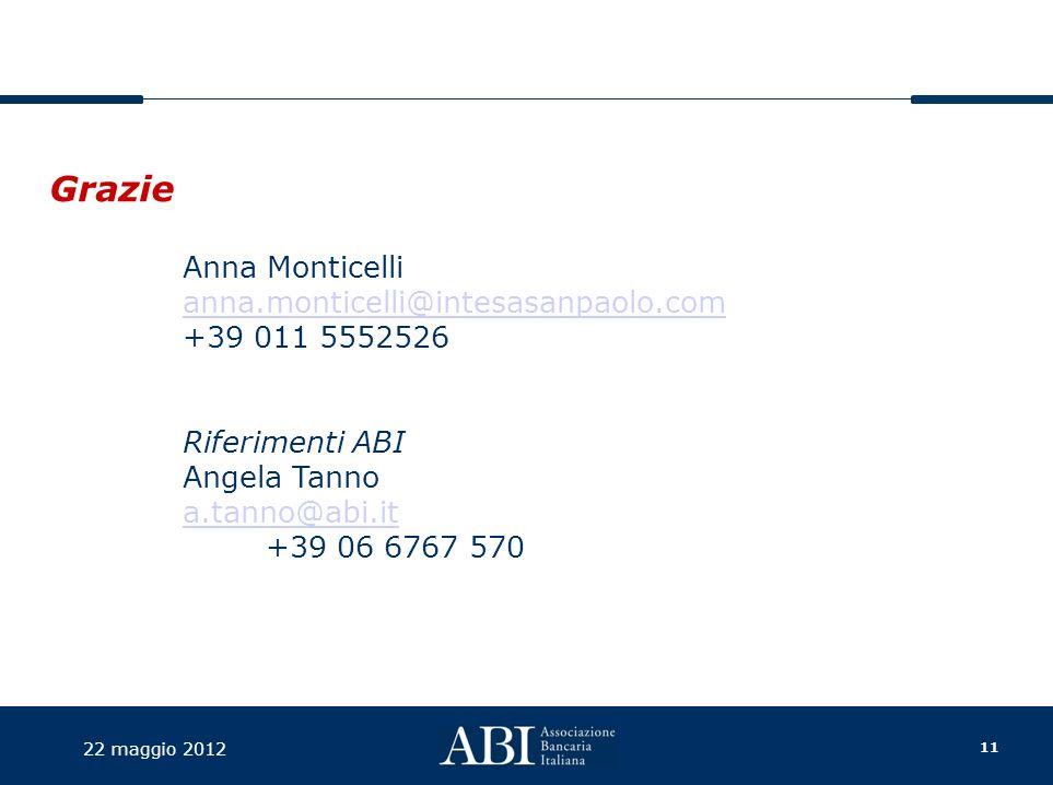 11 22 maggio 2012 Anna Monticelli anna.monticelli@intesasanpaolo.com +39 011 5552526 Riferimenti ABI Angela Tanno a.tanno@abi.it +39 06 6767 570 Grazie