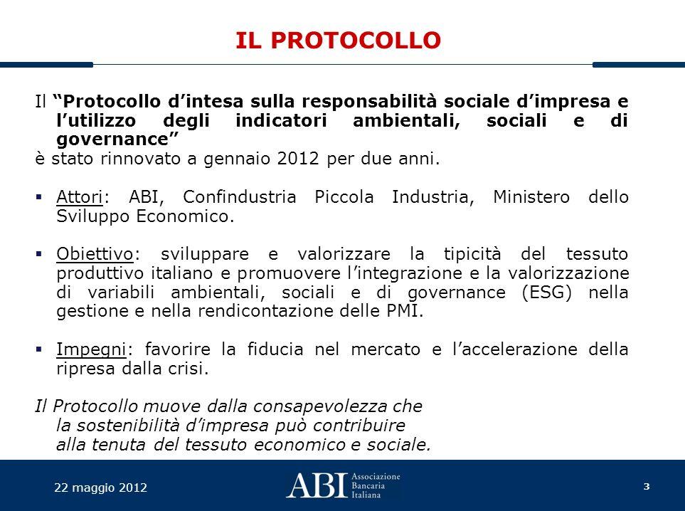 3 22 maggio 2012 IL PROTOCOLLO Il Protocollo dintesa sulla responsabilità sociale dimpresa e lutilizzo degli indicatori ambientali, sociali e di governance è stato rinnovato a gennaio 2012 per due anni.