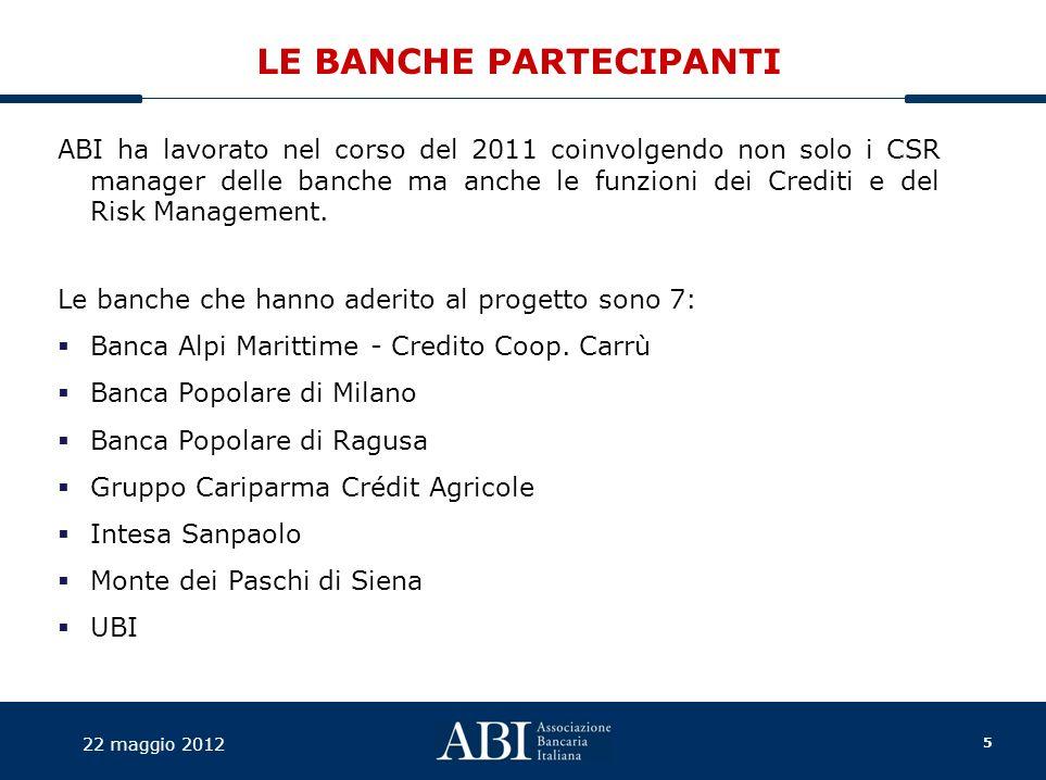 5 22 maggio 2012 LE BANCHE PARTECIPANTI ABI ha lavorato nel corso del 2011 coinvolgendo non solo i CSR manager delle banche ma anche le funzioni dei Crediti e del Risk Management.