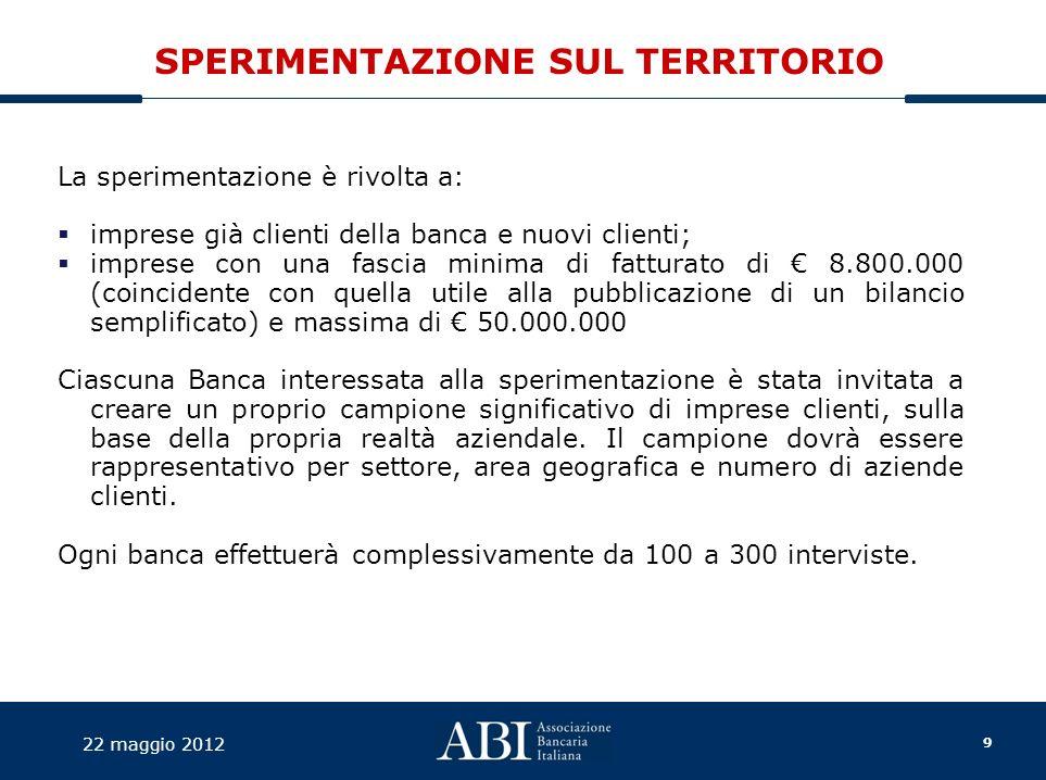 10 22 maggio 2012 PRIME EVIDENZE Alcune banche hanno già avviato un confronto con i capi area/direzioni territoriali che hanno la responsabilità di diverse filiali.