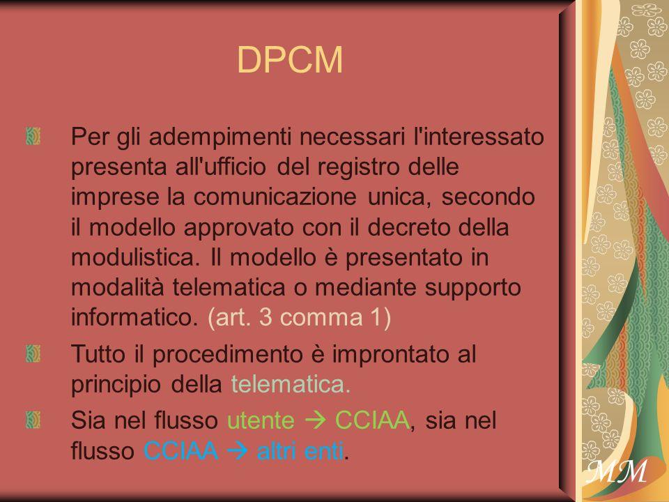 MM DPCM Per gli adempimenti necessari l interessato presenta all ufficio del registro delle imprese la comunicazione unica, secondo il modello approvato con il decreto della modulistica.