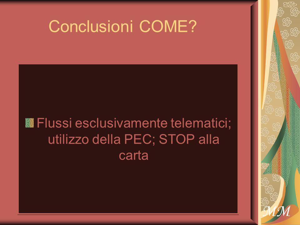MM Conclusioni COME Flussi esclusivamente telematici; utilizzo della PEC; STOP alla carta