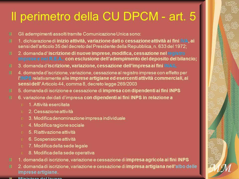 MM Il perimetro della CU DPCM - art. 5 Gli adempimenti assolti tramite Comunicazione Unica sono: 1.