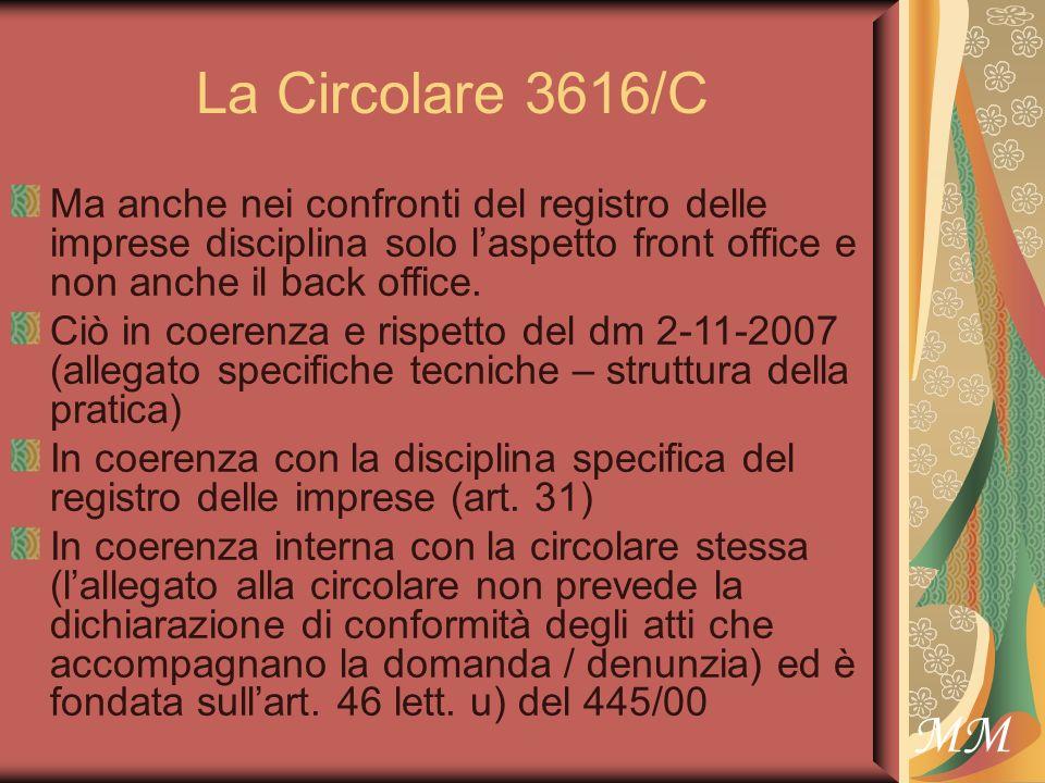 MM La Circolare 3616/C Ma anche nei confronti del registro delle imprese disciplina solo laspetto front office e non anche il back office.