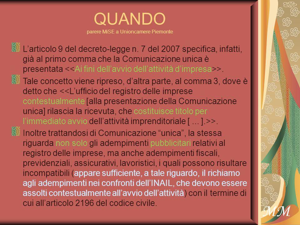 MM QUANDO parere MiSE a Unioncamere Piemonte Larticolo 9 del decreto-legge n.
