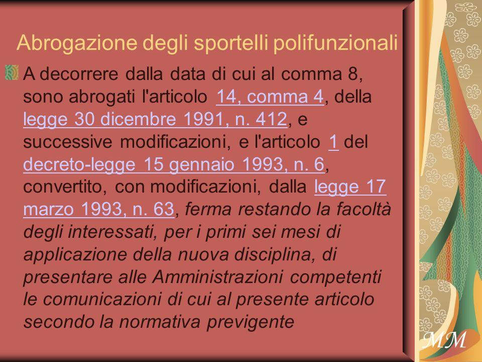 MM Abrogazione degli sportelli polifunzionali A decorrere dalla data di cui al comma 8, sono abrogati l articolo 14, comma 4, della legge 30 dicembre 1991, n.