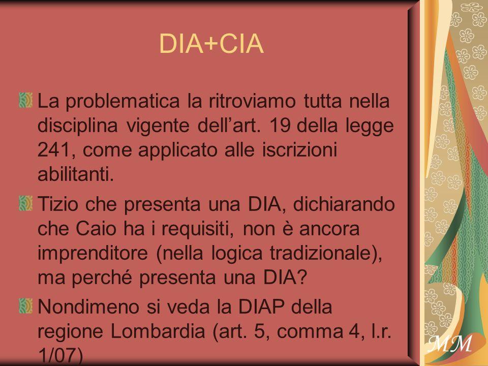 MM DIA+CIA La problematica la ritroviamo tutta nella disciplina vigente dellart.