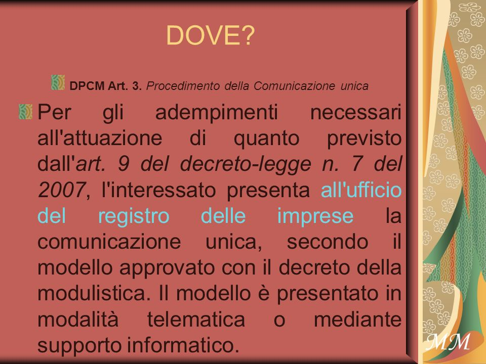 MM DOVE. DPCM Art. 3.