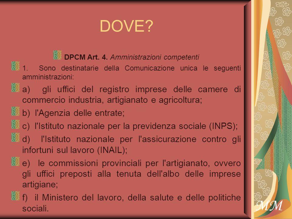 MM DOVE. DPCM Art. 4. Amministrazioni competenti 1.