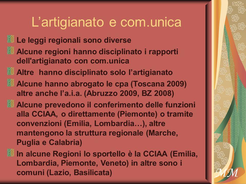 MM Lartigianato e com.unica Le leggi regionali sono diverse Alcune regioni hanno disciplinato i rapporti dell artigianato con com.unica Altre hanno disciplinato solo lartigianato Alcune hanno abrogato le cpa (Toscana 2009) altre anche la.i.a.