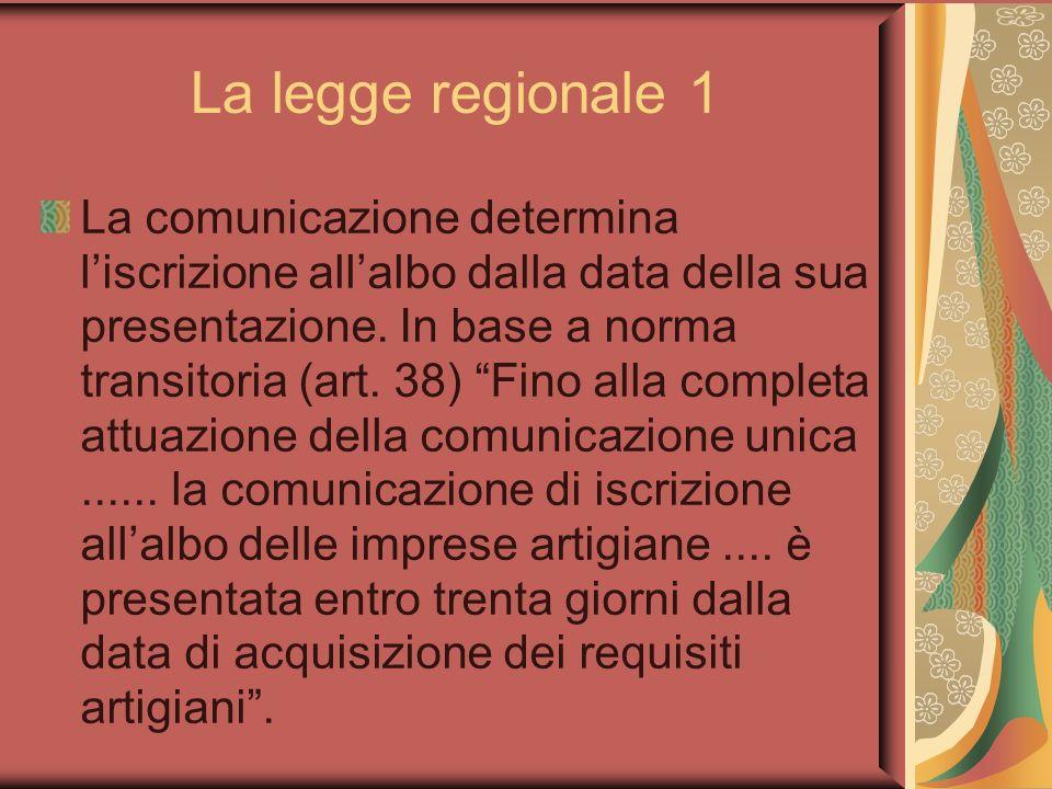 La legge regionale 1 La comunicazione determina liscrizione allalbo dalla data della sua presentazione.